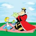 The queen of hearts as a nice mom to child Alice  - disney photo