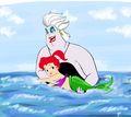 Ursula as a nice mom to child Ariel  - disney photo
