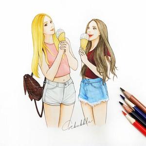 f84792d987b2d1c6499ee1fd1a5f3868 bestie drawings best friends drawings 1