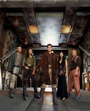 Adam Baldwin with the cast of Firefly