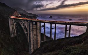 Bixby Bridge in Big Sur California at sunset