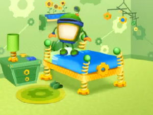 Bot jumping on his bed
