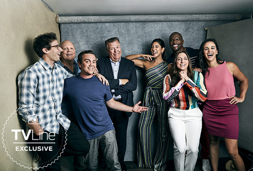 Brooklyn Nine-Nine kertas dinding titled Brooklyn Nine-Nine Cast at San Diego Comic Con 2018 - TVLine Portrait