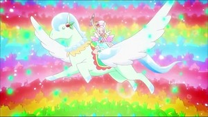 Cure Parfait riding Crystal Pegasus