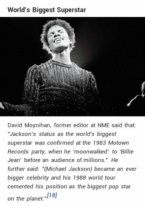 David Moynihan of NME referred MJ as the 'World's Biggest Superstar'