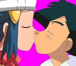 Dawn x Ash kiss