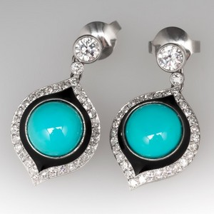 Diamond And Turquoise Earrings