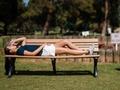 Girl, on park bench