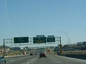 Interstate 70 East at Exit 231B, Earth City Expwy North exit (1999)