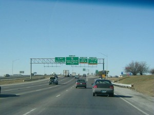 Interstate 70 West at Exit 229B, Loop 70 North, Fifth St exit (1999)