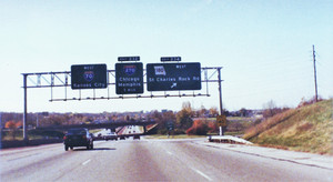 Interstate 70 West at Exit 234, Route 180 West exit (1989)