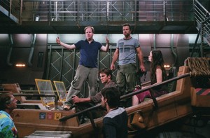 Joss Whedon, Adam Baldwin, Nathan Fillion and Summer Glau behind the scenes of Serenity