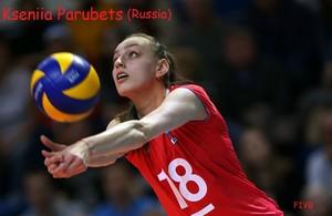 Kseniia Parubets hits the ball