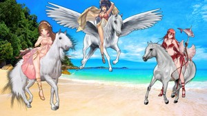 Linde, Tana, and Cordelia riding their Beautiful White Steeds on the spiaggia