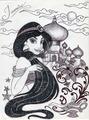 Monochrome Princess Jasmine - disney-princess fan art