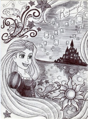 Monochrome Princess Rapunzel