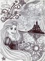Monochrome Princess Rapunzel - disney-princess fan art