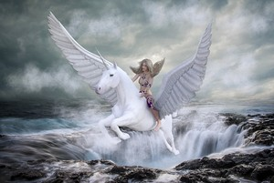 Mystical Woman rides on an Beautiful Winged Unicorn