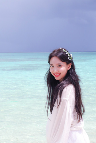 Twice (JYP Ent) achtergrond entitled Nayeon 'Dance the Night Away' behind