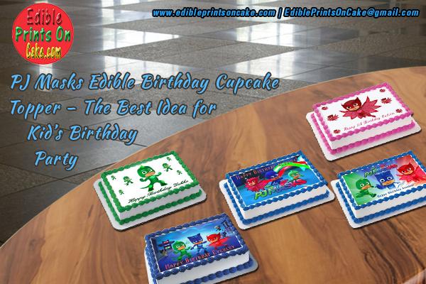 PJ Masks Edible Birthday Cupcake Topper Images