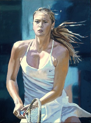 Painting of Maria Sharapova door Katarzyna Kociomyk