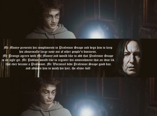 Harry Potter achtergrond called Snape vs Marauders book quote