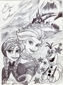 Monochrome Princess Anna and Elsa - disney-princess fan art