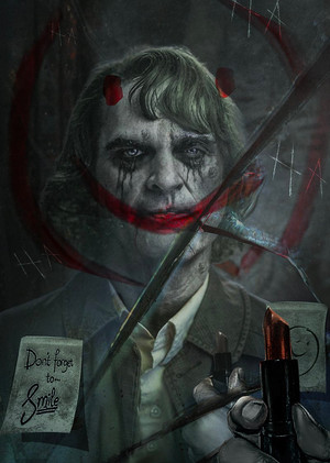 'Don't Forget to :)' - Joaquin Phoenix as The Joker - fã Art por BossLogic