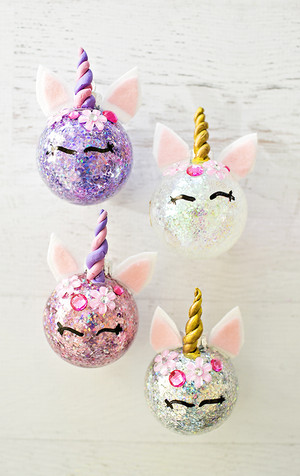 3 diy glitter unicorn ornaments