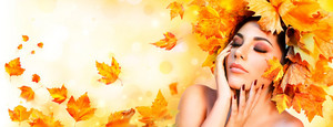 Beautiful Autumn Lady Banner