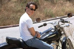 Brandon Lee on motorcycle