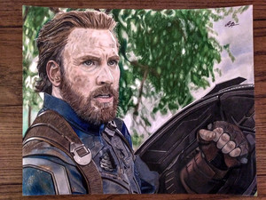 Captain America Colored Pencil Drawing