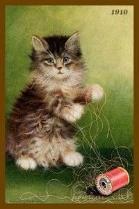 Brown tabby Cat art (1910)