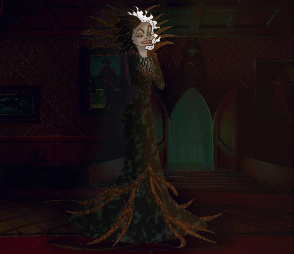 Cruella De Vil's Reptile-Skinned Feather Outfit