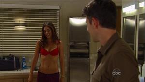 Dr. Britt Westbourne (Kelly Thiebaud) in her red फीता bra - Nov. 12, 2012