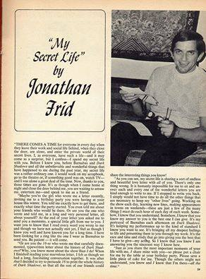 Jonathan Frid--Teen Magazine Fluff