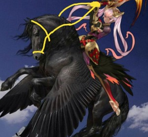 Laevatein riding her Beautiful Black Pegasus destriero