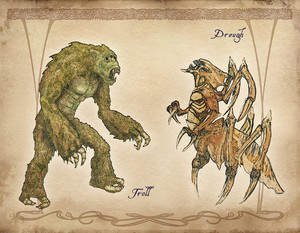 Oblivion Concept Art - Troll and Dreugh