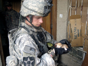 Soldier And His Kitten