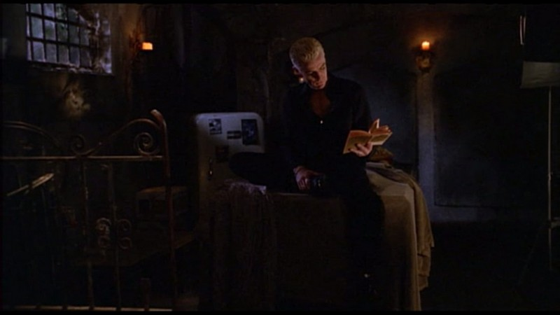 Spike reading in his crypt