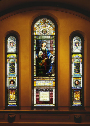Stain Glass Windows Old Stone Church