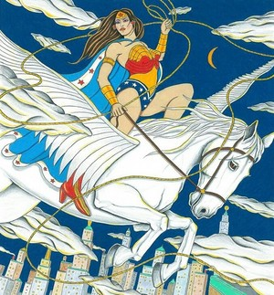 Wonder Woman rides on an Pegasus