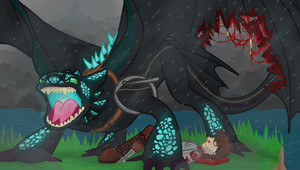 toothless saves hiccup oleh nightfuryshadows d814mva