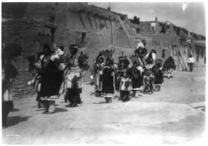 Acoma men and women in ceremonial dress (1905)