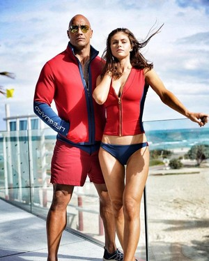 Alexandra Daddario and Dwayne Johnson Baywatch 2017