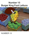 BURGER KING FOOT salade, laitue