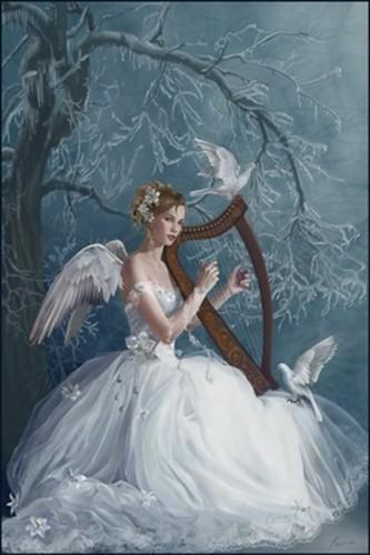 Lavendergolden Hintergrund entitled Beautiful Angel –Jäger der Finsternis