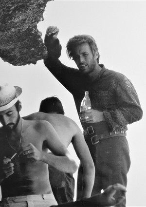 Clint taking a break on the set of The Good, The Bad, and The Ugly