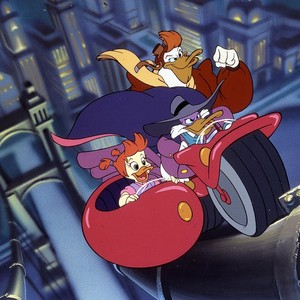 Darkwing Duck, Goslyn, and Launchpad riding the Ratcatcher