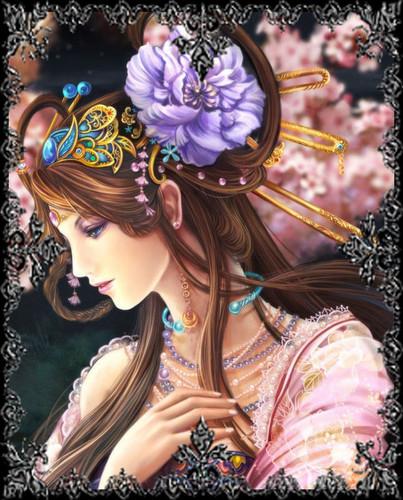 Lavendergolden Hintergrund titled Elegance